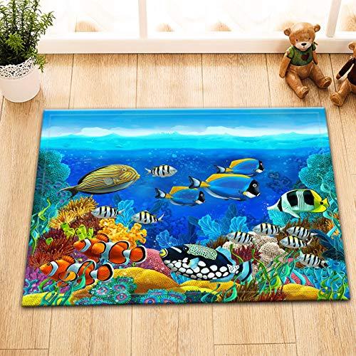 taquxinlaowan Blue Ocean Sea Theme Polyester Stoff Duschvorhang, Badezubehör-Set