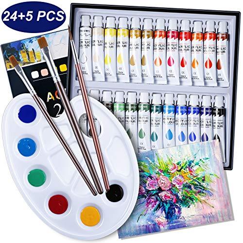 EXTSUD Acrylfarben Set für Acrylmalerei, 24 Stück Acrylfarben mit 3 Künstlerpinsel 1 Mischpalette 1 Leinwand, Acrylfarben Set perfekt für Leinwand, Holz, Stoff, Anfänger und Künstler
