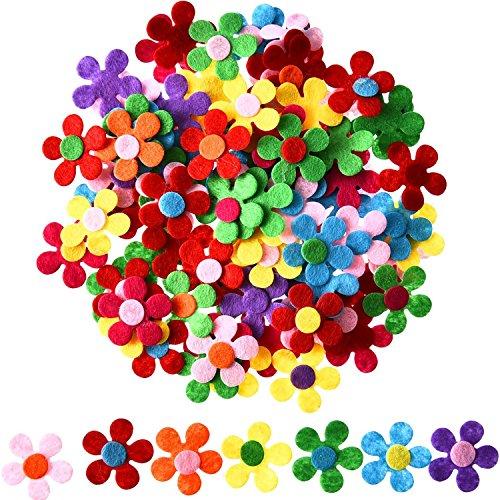 Sumind 100 Stück Filz Blumen Stoff Blumen Verschönerungen für DIY Handwerk, Verschiedene Farben