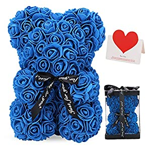 LINKLO Rose Bear Rose Teddy Bear -10 inch Artificial Rose Flower Bear, Gift for Valentines Day, Wedding, Mothers Day and Anniversary, Including Transparent Gift Box (Blue)