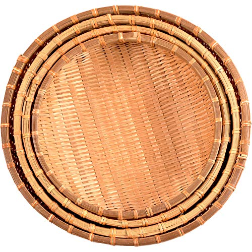 Natural Bamboo Basket | Wicker Baskets in Use of Fruits Basket, Bread Baskets For Serving, Bread Baskets For Table, Shallow Basket, Round Wicker Basket | Fruit Basket (Bamboo Basket-Set 4-Smoked)