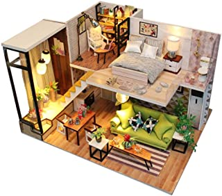Rylai 3D Puzzles Miniature DIY Dollhouse Kit Romance Europe Series Dolls Houses Accessories with Furniture LED Music Box Best Birthday Gift for Women and Girls