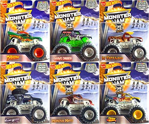 Hot Wheels Monster Jam Special Holiday Editon EL Toro Loco, Monster Mutt, Dragon, Grave Digger, Mohawk Warrior and Team Firestorm Complete Set of 6