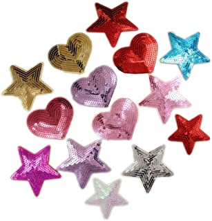 Ximkee Pack of 10 Shiny Heart Sequins Iron on Applique Embroidered Patches (Multi)