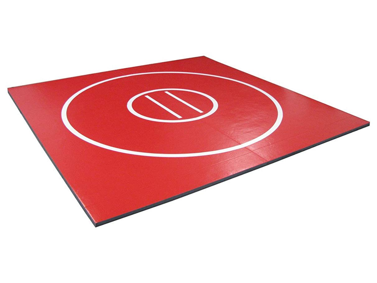 AK Athletics 8' x 8' Roll-Up Home Use Wrestling Mat Red with White Circles and Starting Lines