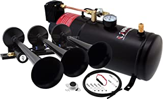 Vixen Horns Train Horn Kit for Trucks/Car/Semi. Complete Onboard System- 150psi Air Compressor, 1 Gallon Tank, 3 Trumpets. Super Loud dB. Fits Vehicles Like Pickup/Jeep/RV/SUV 12v VXO8210/3118B