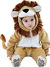 Unisex Baby Flannel Romper Lion Animal Costumes Infant Hooded Pajamas Jumpsuit Halloween Outfits Cosplay King of Wild World