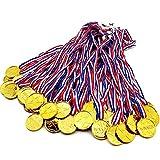 BJ-SHOP Medallas Ninos,Medallas Deportivas Premios plasticos de Oro para los ninos Fiesta Deportiva del Dia Recompensa tematica olimpica(48 Pcs)