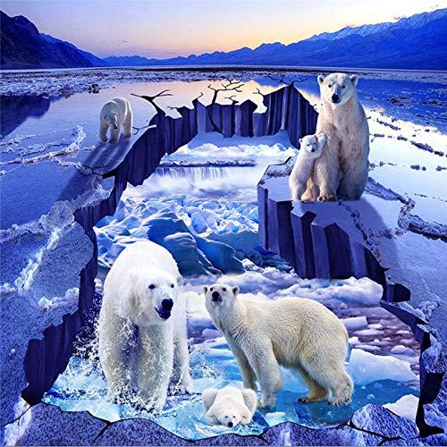 Vinilos Para La Cocina Foto Personalizada 3D Pintura De Suelo Oso Polar Glaciar Iceberg Río Pintura Pintura Tridimensional-350 * 245 Cm Para Habitaciones De Niños Techo Techo Pared Calcomanía Decora