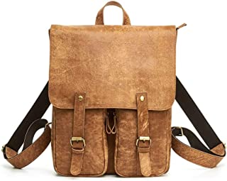 Men Genuine Leather Laptop Backpack Bag Large-Capacity Travel and Leisure Bag Fashion Trend Travel Shopping (Color : Brown, Size : 15 inches)