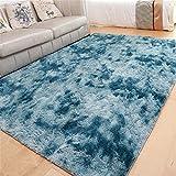 GLITZFAS Shaggy alfombras de Pelo Largo alfombras Salon alfombras de habitacion moquetas Sala de Estar para Habitación (Azul Pavo Real,80 * 120cm)