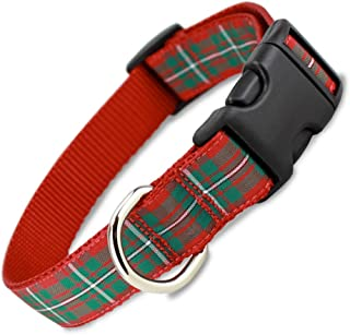 The Artful Canine Red Plaid Holiday Tartan Dog Collar, Medium Dogs, (Collar: 3/4