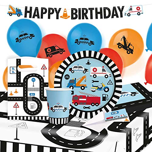 amscan 10202784 9907566 On The Road Party Plates 23 cm 8 Cups 250 ml 20 Napkins 33 x 33 cm Tablecloth 120 x 180 cm Garland 180 cm 8 Paper Bags 8 Invitation Sets 6 Latex Balloons 22.8 cm