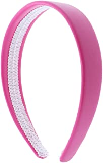 Hot Pink 1 Inch Wide Leather Like Headband Solid Hair band for Women and Girls