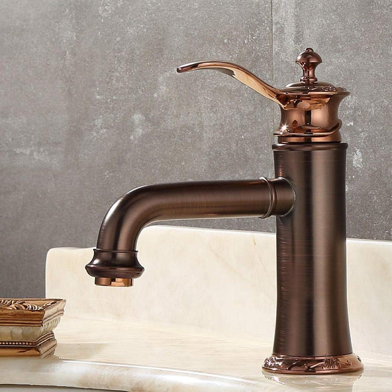 CZOOR Amerikanische kupferbraune Bronze RoséGold hei und kalt Becken Wasserhahn Retro antiken Zeichentisch unter dem Becken Wasserhahn A449