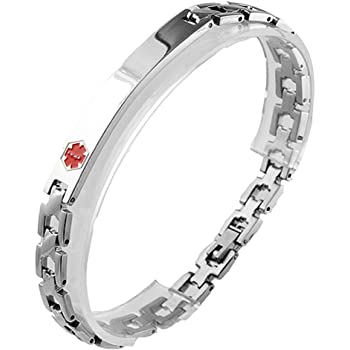 Thin Stainless Steel Medical ID Bracelet - Medical Alert Bracelet Great for Personal Engraving for Men & Women