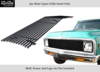 APS Compatible with 69-72 Chevy Blazer C K Pickup Suburban Black Stainless Steel Billet Grille C85003J
