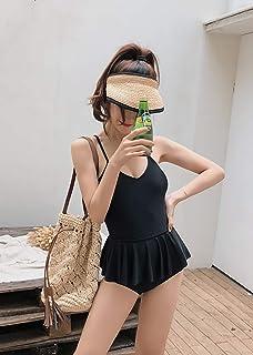 CONWISENCE 可愛い 水着 レディース モノキニ 温泉 ホルターネック 体型カバー ワンピース フレア ワイヤなし セクシー オールインワン おしゃれ パンツ一体型 スカート付き 伸縮性あり ビーチウェア スイムウェア