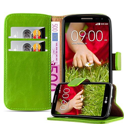 Cadorabo Hülle für LG G2 Mini in Gras GRÜN – Handyhülle mit Magnetverschluss, Standfunktion & Kartenfach – Hülle Cover Schutzhülle Etui Tasche Book Klapp Style