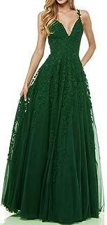 LuckyShe Damen Sexy V-Ausschnitt Abendkleider Ballkleid Elegant für Hochzeit Lang 2018