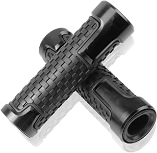 7/8''(22mm) left and 1''(24mm) right Motorcycle CNC Aluminum Soft Rubber Powersports Grips(Black)