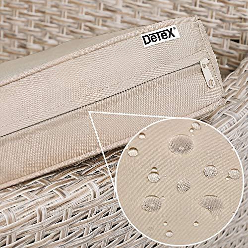 Deuba Poly Rattan Sitzgruppe Grau Beige 6 Stapelbare Stühle 1 Tisch 7cm Dicke Auflagen Sitzgarnitur Gartenmöbel Garten - 6