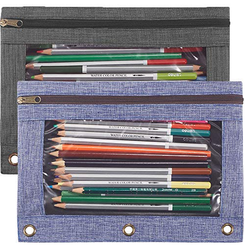 Pencil Pouch 3 Ring, Binder Zipper Pouch Case,Zippered Pencil Pouches for School Students Office 3 Ring Binder