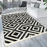 Paco Home Teppich Schwarz Weiß Balkon Terrasse Outdoor Skandi-Design Rauten-Muster Robust,...
