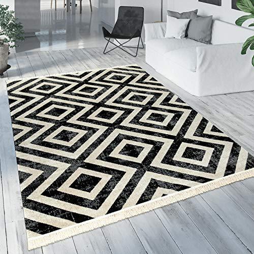 Paco Home Teppich Schwarz Weiß Balkon Terrasse Outdoor Skandi-Design Rauten-Muster Robust, Grösse:120x170 cm