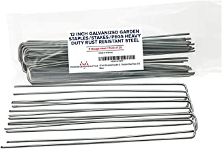 Pinnacle Mercantile 20-Pack 12 Inch Garden Stakes Galvanized Landscape Staples Heavy Duty Anti Rust Ground Anchor Fence Pegs Strong Durable Steel USA …