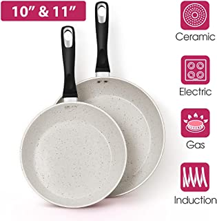 10''&11'' Nonstick Frying Pan With Tempered Lids - 2 Pieces Pink Ceramic Skillet, 100% Toxic, PTFE&PFOA Free, Cookware Set With Heat Prove Handle, For All Stoves, Ideal For Wife & Mom