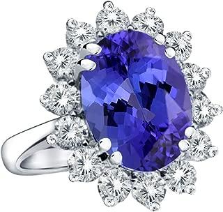 14K White Gold Princess Diana Genuine Diamond & AAA Grade Purple Tanzanite Ring, 3.00ctw