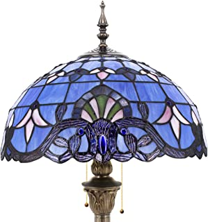 Tiffany Style Floor Standing Lamp 64 Inch Tall Purple Blue Lavender Stained Glass Baroque Shade 2 Light Antique Base for Bedroom Living Room Reading Lighting Table Set S003C WERFACTORY