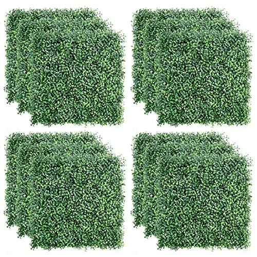 TOPNEW 12PCS Artificial Boxwood Topiary Hedge Plant UV Protection Indoor Outdoor Privacy Fence Home...