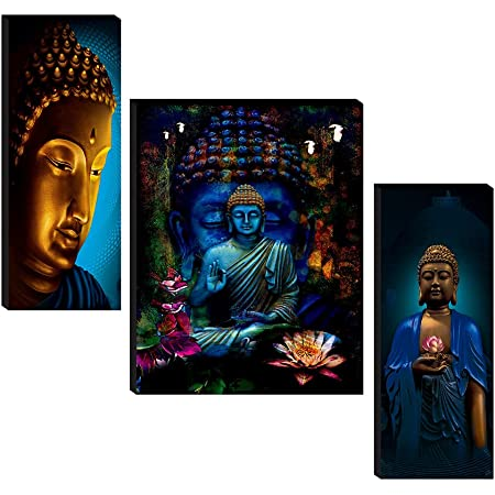 SAF Set of 3 Buddha UV Textured Home Decorative Gift Item Painting 18 Inch X 12 Inch SANFJM31046