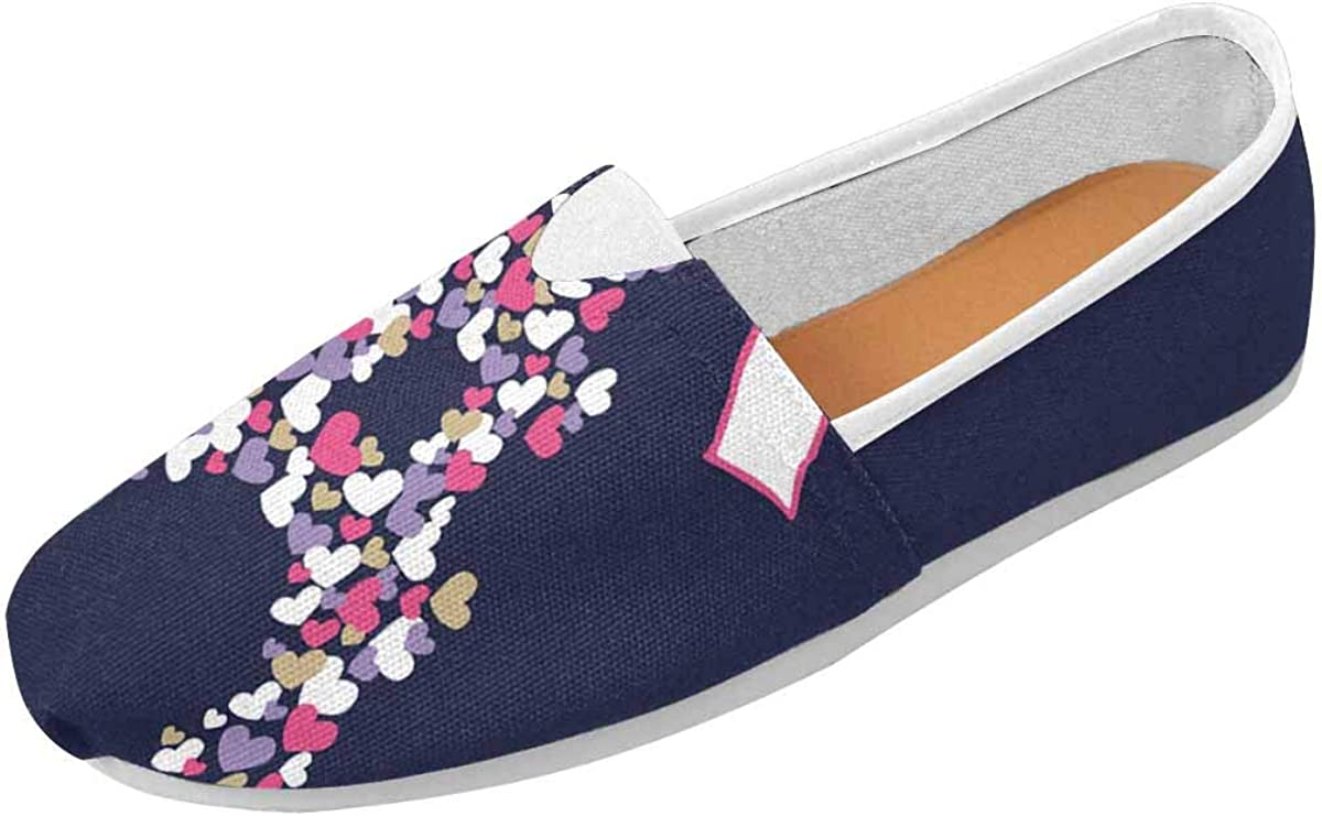 InterestPrint Cute Eiffel Tower and Hearts Women's Casual Slip On Loafers Office