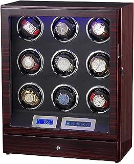 LXDDP - Caja Reloj para 9 Relojes con luz LED Enrollador automático Madera para Reloj cuádruple, Pantalla táctil LCD con 5 Modos, los Mejores Regalos