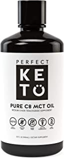 Perfect Keto Rapid Energy Pure MCT Oil: Ketogenic Coconut Oil Supplement. 100% Pure MCT Oil   Ketones Best as Ketogenic Diet Supplement (C8, 32 oz)
