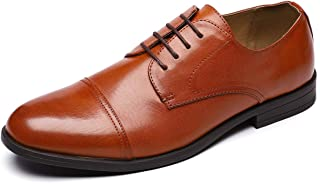 Jivana Men's Derby Shoes - Lace Up Oxford Dress Shoes for Men, Brown or Black PU Leather