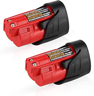 2500mAh 12V Replacement for Milwaukee M12 Battery XC 48-11-2410 48-11-2420 48-11-2411 Cordless Tools Batteries - 2 Pack