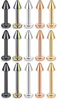 FM FM42 15PCS Stainless Steel 5 Colors 3mm Diameter Spike 16G 6/8/10mm Height Labret Monroe Stud (Pack of 15)