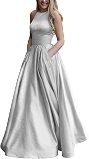 f6c6c87acb6 Women s Halter Prom Dress with Pockets Long Formal Evening Gowns