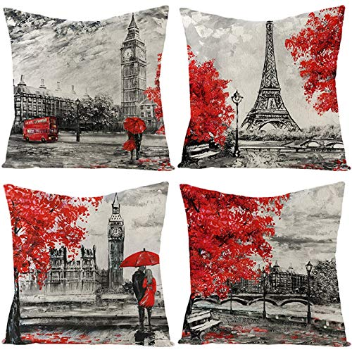 AtHomeShop 45 x 45 cm Funda de cojín decorativa en lino con arce europeo de arce, funda de cojín cuadrada para sofá, dormitorio, coche, salón, decoración, color gris y rojo, estilo 5