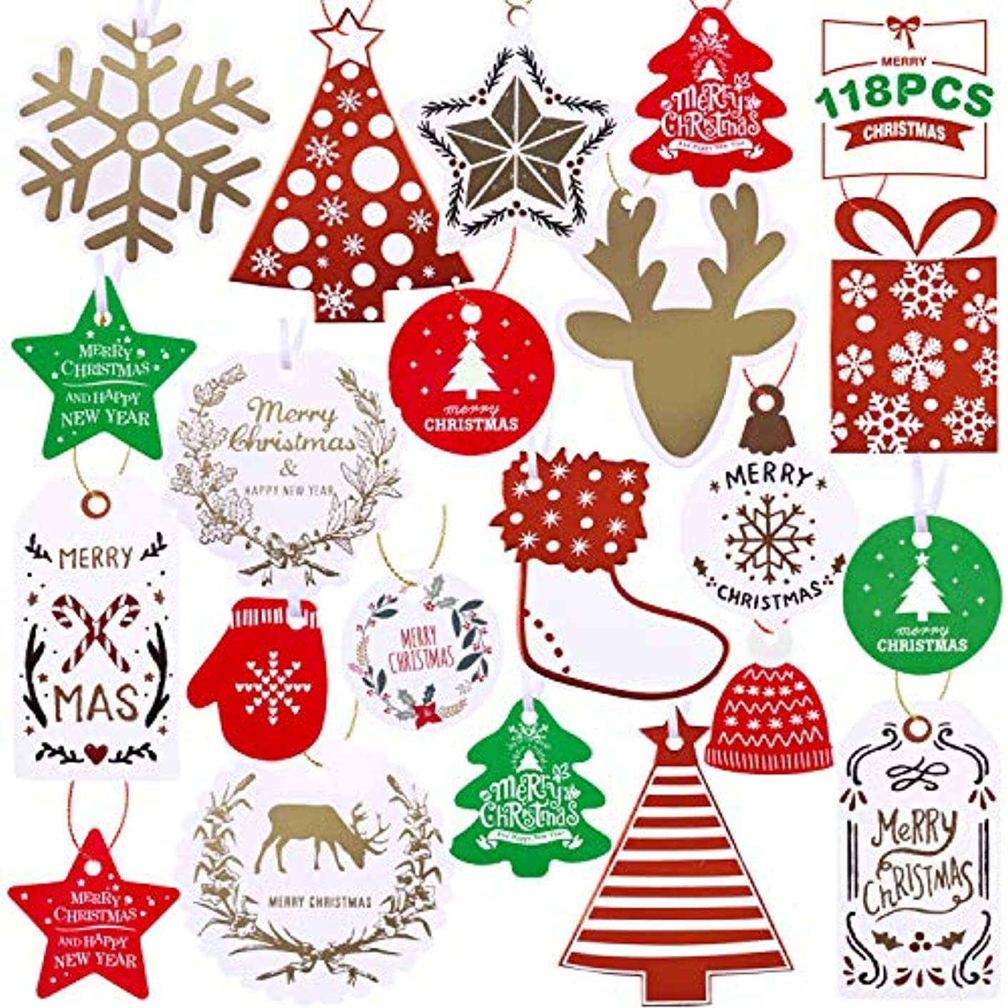 118 Count Christmas Gift Tags 21 Assorted Designs for DIY Xmas Present Gift Wrapping and Label Name Card Party Supplies