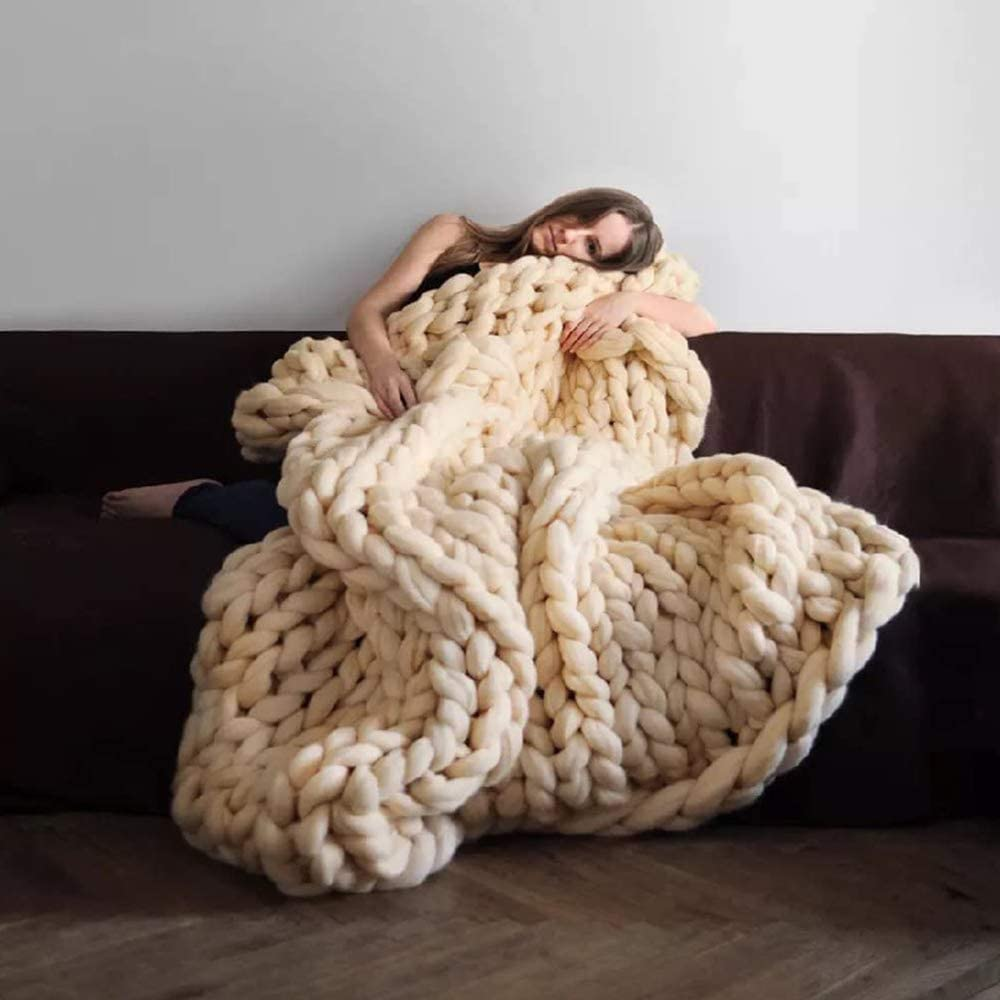 LINZHISH Skin-Friendly Chunky Knit Manufacturer direct delivery Blanket Bulky Throw excellence Comfy Han