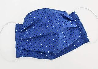 Blaue Mund-Nasen-Maske mit Punkte in Schwarz und Weiß - Behelfsmaske Baumwolle