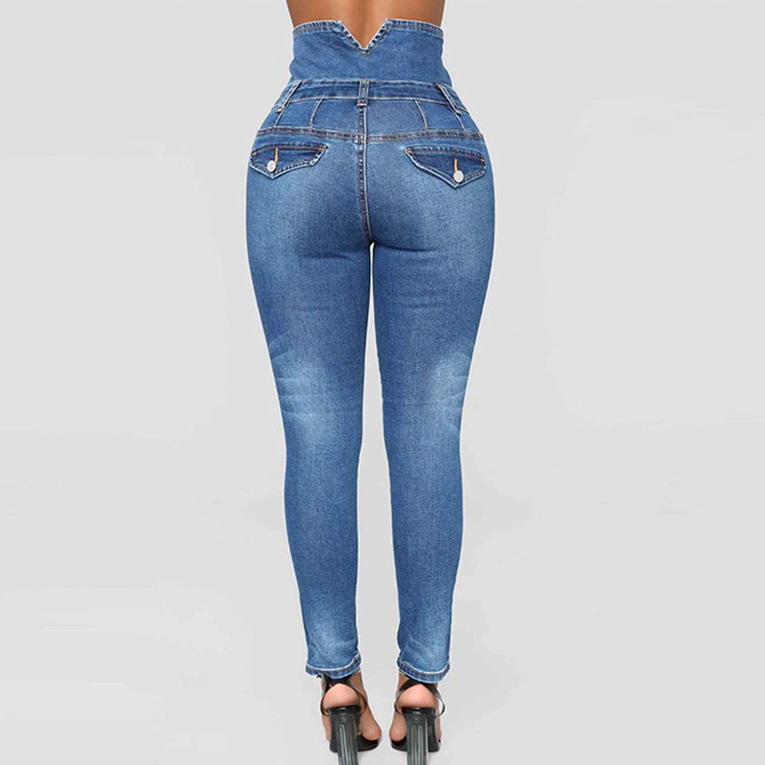 Womens Mom Jeans High Waisted Button Fly Ripped Skinny Jeans Butt Lift Denim Pants Slim Fit Distressed Jeans Pants