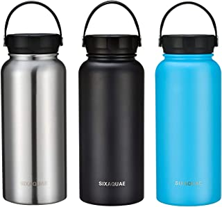 SIXAQUAE Double Wall Vacuum Insulated Water Bottle 32 oz, Cold for 24 Hours, Hot for 12 Hours, Wide Mouth Stainless Steel Sports Water Flask Travel Thermos BPA Free Leakproof