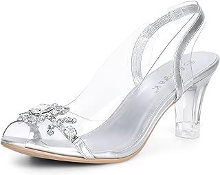 Women's Clear Slingback Flower Rhinestone Peep Toe Heels Sandals