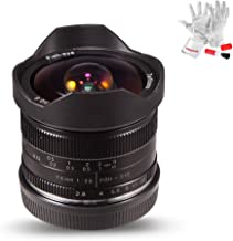 7artisans 7.5mm F2.8 APS-C Manual Fisheye Fixed Lens for Olympus Panasonic Micro Four Thirds MFT M4/3 Cameras - Black with Protective Lens Cap, Lens Hood and Carrying Bag